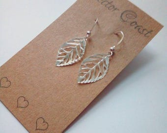 Silver Leaf Earrings, Delicate Leaf Earrings, Silver Leaves Earrings, Sterling Silver, Nature Jewellery, Gift For Her, Gift For Mum