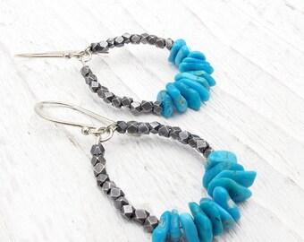 turquoise earrings, hoop earrings, December gift, Hill tribe silver, sterling silver, turquoise jewelry, boho jewelry, December birthstone,