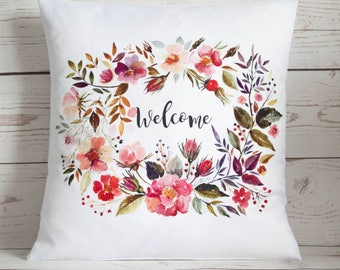 "Floral Welcome - 16"" Cushion Pillow Cover Retro Shabby Vintage Chic UK Handmade"