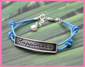 Karma Expression Bracelet Double Leather Strap With Happiness Plate