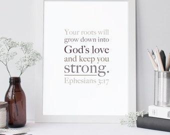 Scripture Print - Ephesians 3:17 - Bible Verse Art  - Scripture Typography - Motivational Wall Art - Typographic Print - Gold Print