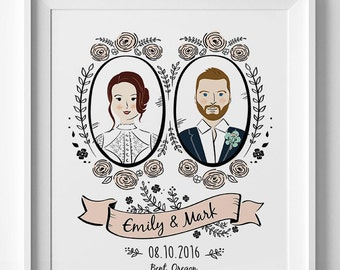 Custom Couple Portrait art Couple Illustration Wedding portrait Personalized Portrait Anniversary Gift Printable or Printed Wedding Gift