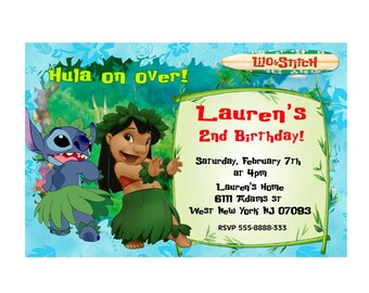 Lilo and Stitch Stitch Invitations Lilo and Stitch Luau Party