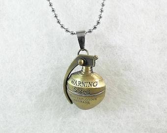 Grenade Pendant Necklace, Bronze Necklace,  Mens Womens Gift  Handmade