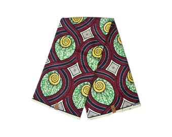 Sold by the yard quality/ Green and Red / African Fabric / African Print/
