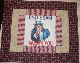 Fourth of JULY  - Mini Quilt with Uncle Sam Wants You! - Red White and Blue Patriotic Uncle Sam - All American Wall Hanging