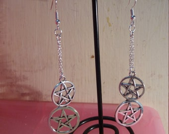 Pentacle earrings, Pagan jewlery, Wiccan jewlery, Wicca, Wiccan, Pentagram, protect