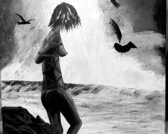 Bound on the Rocks - acrylic painting surreal erotic art canvas black and white