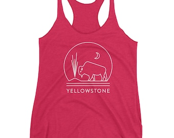 Yellowstone National Park Women's Racerback Tank featuring Bison and Old Faithful
