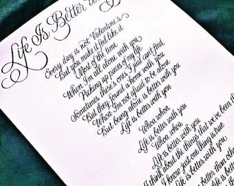 Custom Calligraphy Song- Elegant flourished handwritten song