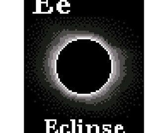 E is for Eclipse Space Alphabet Cross Stitch Pattern