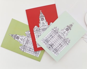 Liverpool Cards, Blank Cards with envelopes, Greeting Cards, Thank You Cards, Liver Building Notecards, Red, Green