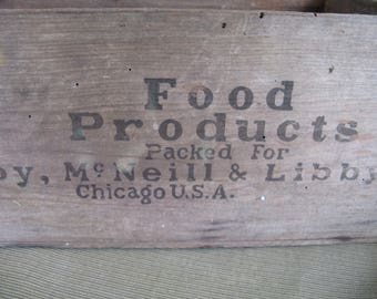 wooden crate, Libby's Roast Beef, old time graphics, 1950's
