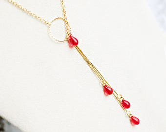 gift for her gold red necklace gift for girlfriend red jewelry gold pendant necklace bohemian jewelry gift for wife statement necklace д4