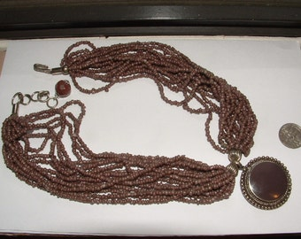 nice color- 70s vintage seedbead necklace with pendant-choker style-SOFT BROWNS