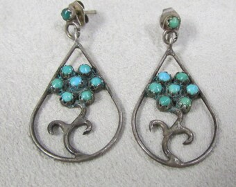 Zuni Turquoise and Sterling Silver Dangle Post Earrings