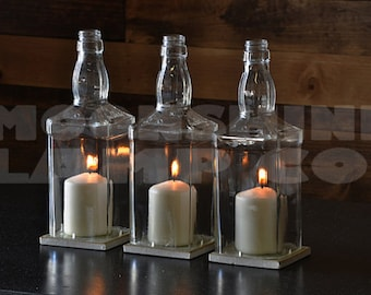 Whiskey Bottle Glass Hurricane Candle Centerpiece