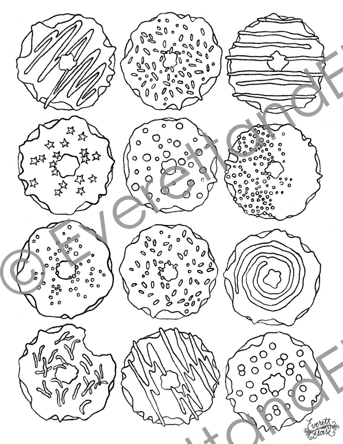 Donut Coloring Page Digital Download Donuts Coloring Page