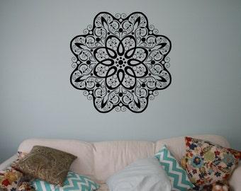 Indian Ornament Mandala Wall Vinyl Decal Flower Wall Sticker Indian Religions Home Decor Mehendi Pattern Wall Murals Housewares 19(mhi)