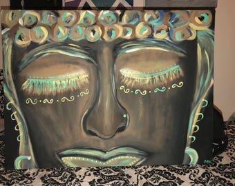 Buddha Face Boho Original Painting by MykesDesigns
