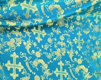 Turquoise/Gold Metallic Church Cross Brocade Fabric