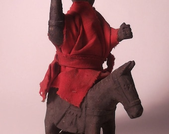 Hand-carved wooden equestrian statue-North-Thailand-ca. 1900