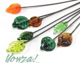 Leaf Lampwork Headpins - set of 8