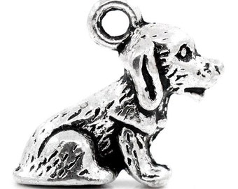 5 Pieces Antique Silver Dog Charms