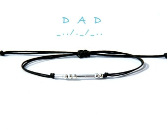Dad morse code bracelet Gift for dad From daughter Gift from wife for Father  gift for Dad Fathers day gift Sterling silver bracelet for dad
