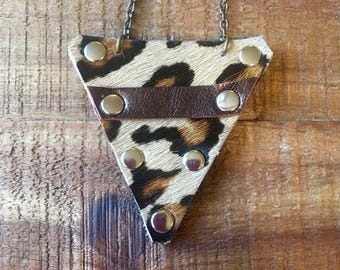 Guitar Pick Holder Necklace - Printed Cow Hide- Guitar Accessories - Leather Jewelry