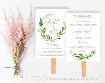 Wedding Program Fan / Wedding Program /Printable Wedding Program / Custom Order of Ceremony - Monogram Wreath