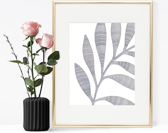 Printable Wall art, Blue leaves watercolor Printable art