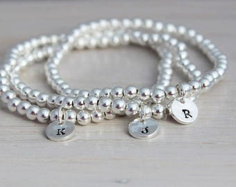 stretch stacking bracelets, 3 initials bracelet, stamped initials, mommy jewelry, stackable jewelry, sterling silver, layering bracelets