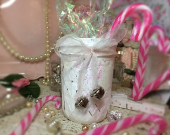 Shabby Chic Christmas Cottage White Mason Jar Quilted Iridescent Glitter Organza Bow Silver Bells Xmas Decor Decorations Centerpiece Vase