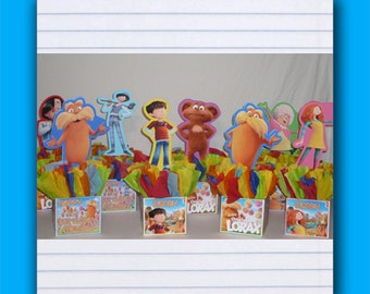 Complete Small Lorax Birthday Party Centerpiece, Personalized birthday party decorations
