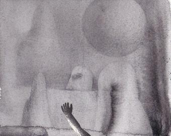 Original mixed media drawing - Untitled 140629