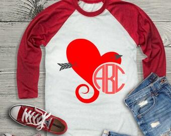 Valentine svg, Heart Monogram Svg Frame, Valentine Monogram SVG DXF EPS, Valentine arrow svg, monogram svg, printable png Cricut, Silhouette
