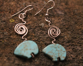 Turquoise Bear Bead Earrings with Sterling Silver Wire