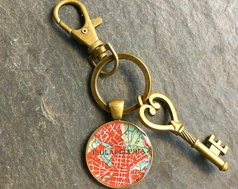 Philadelphia Keychain Bronze with Ring Swivel Clasp and Key Vintage Map