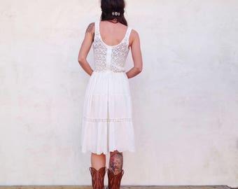Vintage Cream Crochet Cotton Dress / Eyelet Prairie Midi / Boho Hippie Women S / M