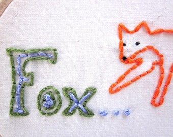 Fox Embroidered Wall Art In Orange, Black, Green, and Periwinkle