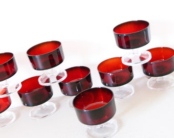 Glass Bowl 70 Years 9 pieces/vintage glass bowl/dessert bowl/bowl red/dessert Bowl Vintage Germany