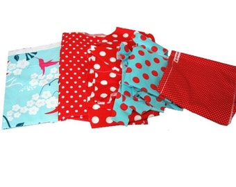Fabric Scraps -Aqua & Red Theme- Reminants Over 3 Lbs