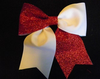 Solid White and Red Glitter Hairbow