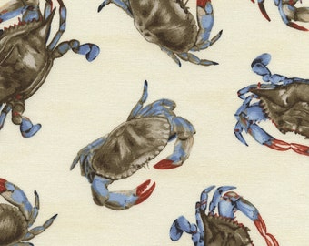 Blue Crab Fabric, Timeless Treasures Crab C3994, Chesapeake Blue Crabs Quilt Fabric, Nautical Fabric, Food Fabric, Seafood Fabric, Cotton