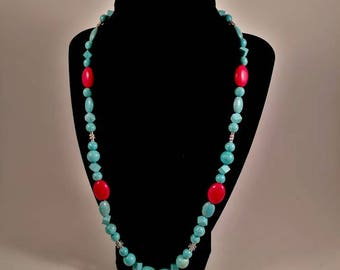 Blue and Red Turquoise Necklace Set, With Earrings -by Southern Ear Candy