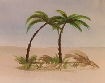Aceo original water color painting palm trees ready to ship gift ooak art