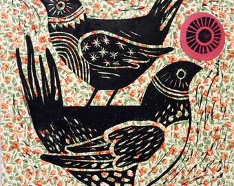 LINOCUT BIRDS - Bird Lino Print - Original Bird Print - Anniversary Art Gift - Original Bird Art