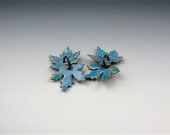 Enameled Small Maple Leaves / Aqua Enamel  / Made to Order