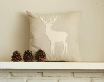 Deer Pillow Cover, Holiday Decor, Woodland Decor, Reindeer, Custom Linen Cover, Stag Silhouette, Lodge Christmas Decor, Cabin decor, Antlers